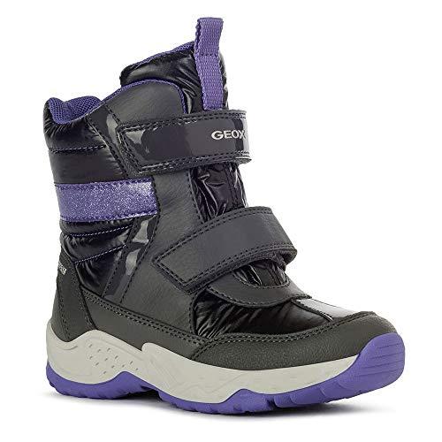 Geox Mädchen Boots SENTIERO Girl WP, Kinder Winterstiefel,lose Einlage, verspielt detailreich leger Winter-Boots warm,DK Grey/Purple,33 EU / 1 UK