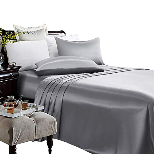 ARTALL Silky Super Soft 4 Piece Deep Pocket Satin Sheet Set, King Size Grey