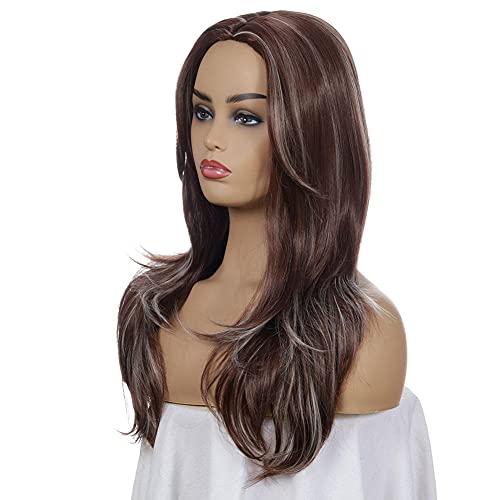 Peluca para mujer, color ámbar y dorado, pelo largo, rizado, sintético, resistente al calor, peluca de cosplay natural, disfraz de Halloween-B