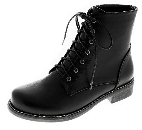 Harper Shoes Womens Combat Boots Military Lace Up with Rear Zipper, Black, 10