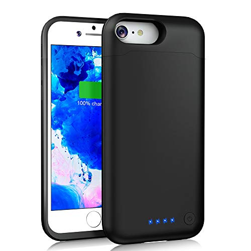 LCLEBM Battery Case for iPhone7/8/6s/6[Upgraded 6000mAh] Portable iPhone 8 Charger Case (4.7inch) Extended Protective Rechargeable Charging Case - Black