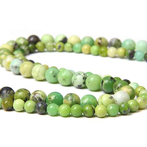Australia Natural Jades Verde Crisoprasa Cuentas De Piedra Sueltas Redondas para Hacer Joyas DIY Pulsera Collar Pendiente 6 8 Mm Bead-6 Mm Aproximadamente 62 Cuentas