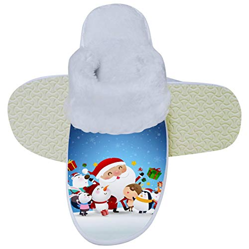 Santa Christmas Claus Winter Slippers Soft Slipper Non-Slip on House Slippers Indoor Outdoor Warm Shoes Home Shoes for Women Mens