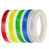 Cinta adhesiva reflectante, cinta de advertencia de seguridad de 1 CM de ancho, 5 rollos, reflectores de pegatinas de bicicleta y motocicleta, blanco rojo azul amarillo verde