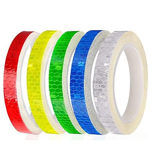 Nastro Riflettente Adesivo, nastro di avvertenza di sicurezza largo 1 cm 5 rotoli, catarifrangenti adesivi per biciclette, bianco rosso blu giallo verde