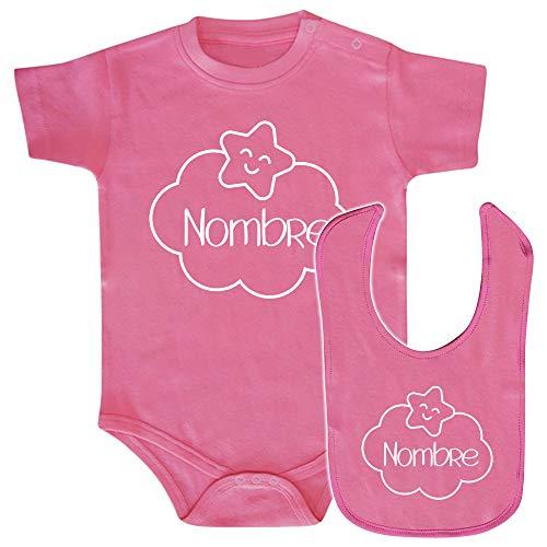 ClickInk Pack body y babero bebé personalizado con nombre, nube. Regalo bebé. Regalos para bebés. Regalo divertido. Regalo original. Body bebé algodón. (Rosa, 3 meses)