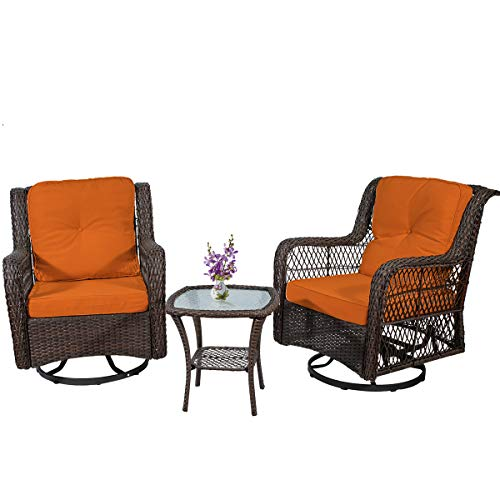 PD Master 3 Piece Patio Wicker Rattan Bistro Furniture Set, 2 Swivel Rocking Cushioned Chairs with Glass Coffee Table,Outdoor Rattan Conversation Sets(Orange)