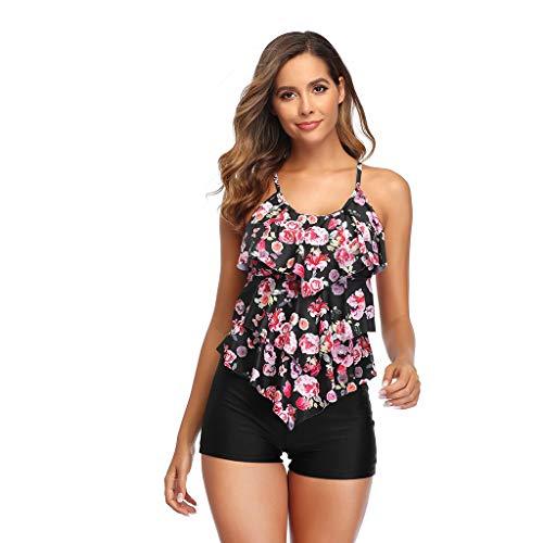 QingJiu 2020 Damen Push Up Bikini Badehose Sonnenblumendruck Sling Bademode Geteilter Badeanzug Beachwear Set