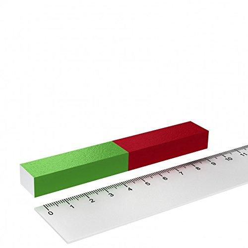 Stabmagnet für Schulungen und Experimente - 100x15x10 Quader - Rot/Grün