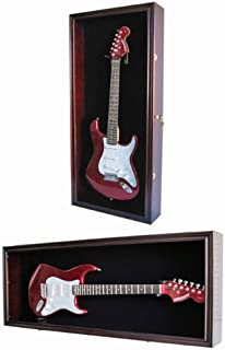 Guitar Display Case Cabinet Wall Hanger for Fender or Electric Guitars w/Uv Protection-