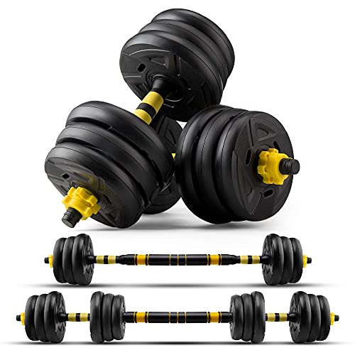 zybeauty Adjustable Dumbbells, 44Lbs (20kgs) Weight Set, Dumbbells to Barbells with Connecting Rod, Non-Slip Handles Home Gym Equipment for Men and Women Workout Exercise Training