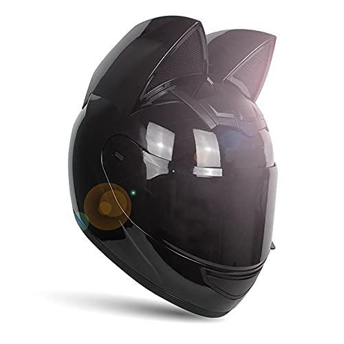 Chica Mujer Casco de moto Casco de oreja de gato DOT/Ececertificado Casco de moto de cara completa Cascos MOTO de cuatro estaciones con visera para Street Bike Racing Motocross ATV 2,S