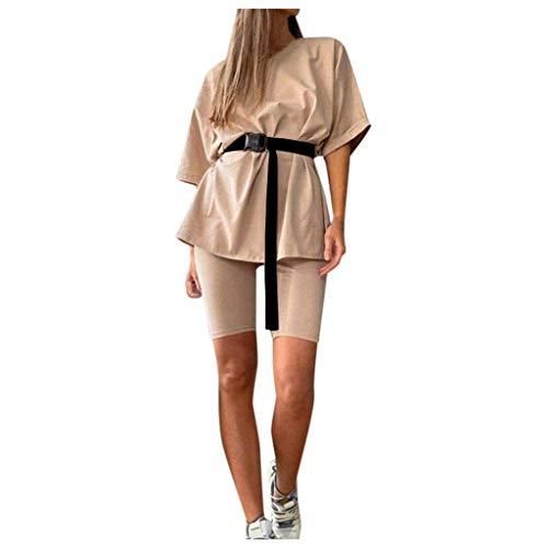 Damen Zweiteiler Trainingsanzug Shirt Hose Zweiteiler Set mit Gürtel Home Casual Loose Sport T-Shirt Anzug (Shirt + knielange Hose + Gürtel) Gr. X-Large, khaki
