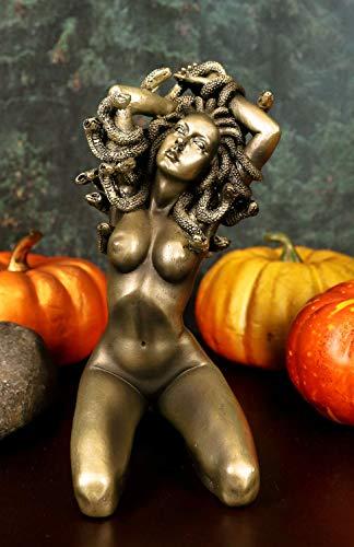 Ebros Greek Mythology Kneeling Nude Goddess Medusa with Snake Hair Statue 6' Tall Temptation Seduction of The Demonic Gorgon Deity Medusa Gorgonic Sisters Figurine