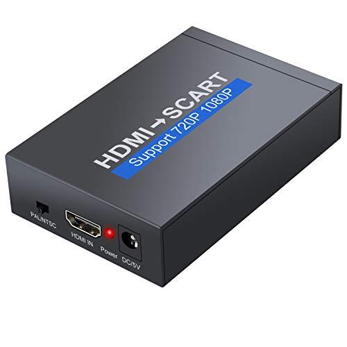 PROZOR Convertidor HDMI a euroconector 1080P HDMI de entrada SCART adaptador de salida con adaptador de corriente + cable de 1,5 m SCART adaptador de alimentación para TV, DVD, SKY, HD, Blue Ray DVD