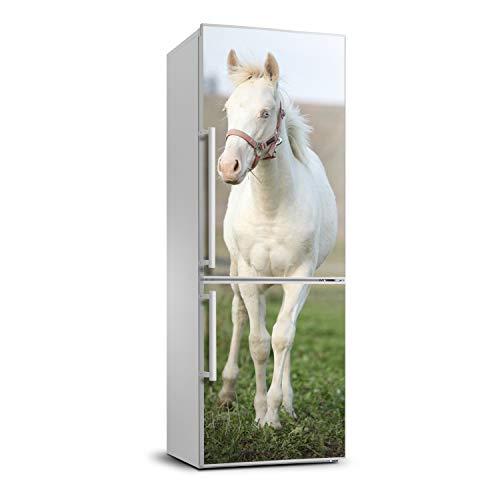 Tulup Etiqueta Engomada Del Refrigerador Película Autoadhesiva 60x180 cm Cubierta Del Refrigerador Cubierta Pegatinas Pared Decoración Sala de Estar Cocina - caballo albino