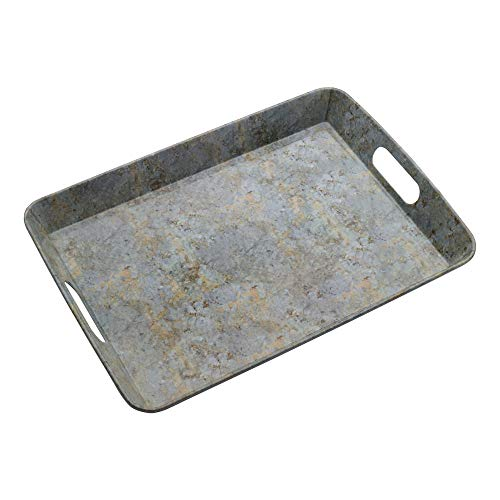 Pfaltzgraff Faux Marble Rectangular Melamine Serving Tray, 18-Inch-by-13-Inch, Yellow/Gray