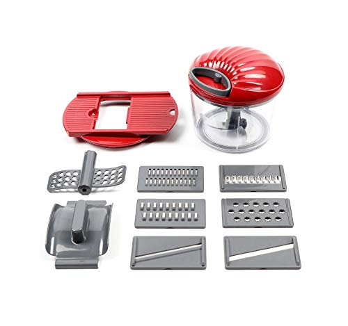 Mezclador manual con cuerda para cortar alimentos (400/600/900 ml) – picar verduras, cebollas, ajos, carne, frutos secos en cuestión de segundos 900ml+Multi-slicer