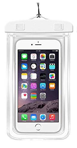 Weiße wasserdichte Handyhülle mit Leuchtstreifen - Perfekter Schutz für dein Handy (< 7 Zoll) durch diese transparente Wasserschutzhülle für Schwimmen, Segeln, Unterwasser. Touchscreen kompatibel.