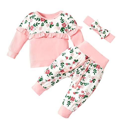 KINGWani - Conjunto de Ropa para bebé, 3 Piezas, diseño Floral, Manga Larga, para niños pequeños y niños Rosa Rosa 38
