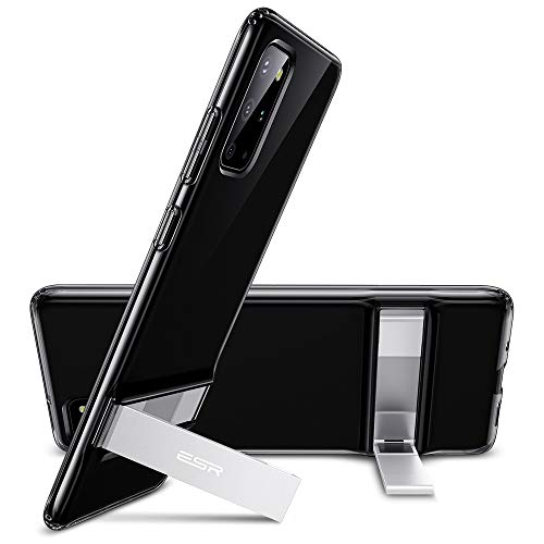 ESR Metal Kickstand Compatible with Samsung Galaxy S20 Plus Case, Vertical and Horizontal Stand, Reinforced Drop Protection, Flexible TPU Case for Samsung Galaxy S20 Plus, Translucent Black