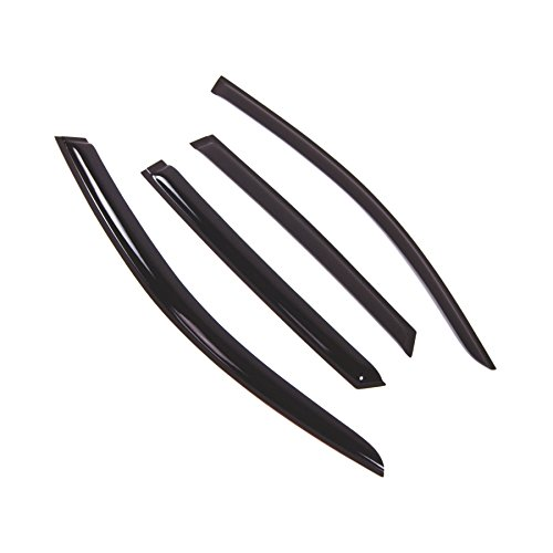 Tuningpros WD2-664 Outside Mount Window Visor Deflector Rain Guard Dark Smoke, 4 Pcs Set Compatible With 2008-2016 Audi Q5