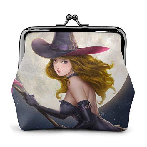 Sexy Cute Halloween Witches Fly Broomsticks Vintage Pouch Girl Kiss-Lock Cambiar Monedero Monederos Hebilla Monederos de Cuero Llave