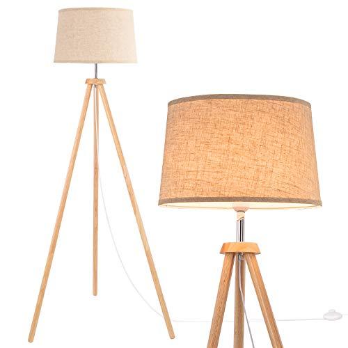 WUDSEE Stehlamp Stativ Stehleuchte Tripod aus Hoz mit Beige Stoffschirm für Das Wohnzimmer, Schlafzimmer