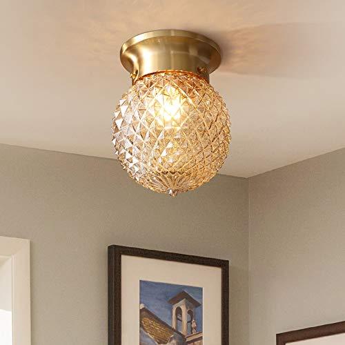 De enige goede kwaliteit Indoor Alle Koper Plafond Lamp Ananas Lampenkap Glas Cover Alle Koper Aisle Lamp Balkon Lamp Ingang Licht Nachtlampje 1 Licht 15 * 15cm