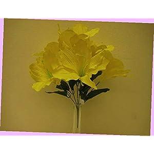 Artificial 2 Bushes Yellow Amaryllis Artificial Silk Flowers 16″ Bouquet 6-647yl Bouquet Realistic Flower Arrangements Craft Art Decor Plant for Party Home Wedding Decoration