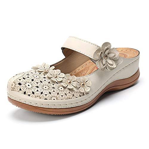 gracosy Zuecos para Mujer Cuero PU Verano Loafer Tacón Bajo Mules Zapatillas de Playa Planos Zapatos Antideslizantes Sandalias Mary Jane Zapatilla
