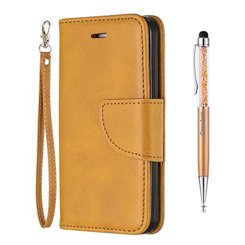 Grandoin Custodia per Samsung Galaxy Note 9, Creativo Custodia Retro a Libro Flip Case con TPU Antiurto Portafoglio Cover in Pelle Wallet Magnetica Supporto Cover Cassa Protettiva (Giallo)