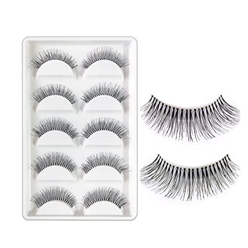 HUBAN 5 Pares/Lote Natural Spare Cross Eye Lestes de extensión Maquillaje Larga Pestañas Falsas (Length : Mix)