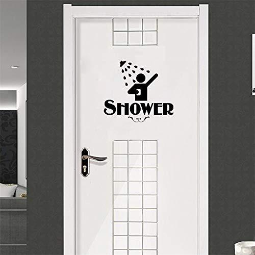 BLOUR Persönlichkeit Toilette Dusche Vinyl Aufkleber Tür Wasser Badezimmer Zeichen Lustige Dekoration Aufkleber Vinyl Aufkleber A2201
