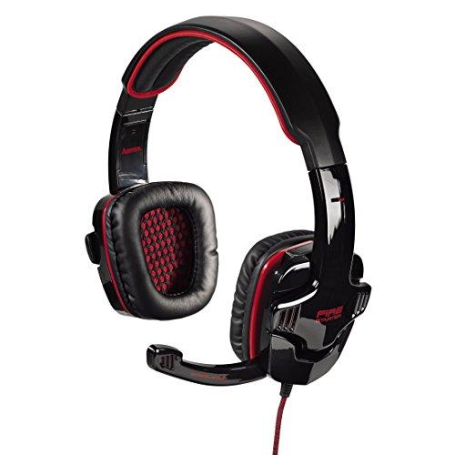 Hama PC Gaming Headset Fire Starter, Stereo, mit Lautstärkeregler und Mute-Taste am Kabel, Kabellänge 2 m, schwarz/rot