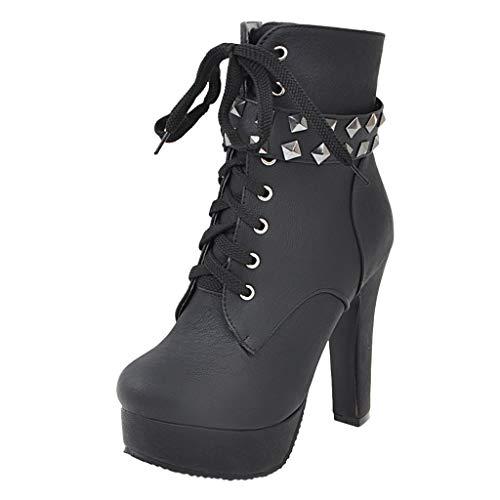 VJGOAL Dameslaarsjes, vrouwen boots laarzen mode Wild Retro gesp Romeinse party 12cm hoge hakken vrouwen korte boots