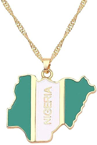 Collar Irak Nigeria Ghana Australia Kurdistán Collar con colgante de tarjeta de mujer Accesorios Accesorios de joyería de oro Collar de tarjeta Anniyo de África Jamaica