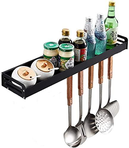 YunNasi Küchen Wandregal Ohne Bohren Duschablage 1 Etage mit 5 Haken Gewürzregal Schwarz Küchenregal Schwimmendes Anti-Rost für Küche Badezimmer Balkon (A, 30cm)