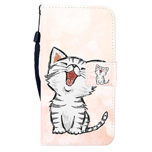Sunrive Hülle Für alcatel Flash Plus 2, Magnetisch Schaltfläche Ledertasche Schutzhülle Etui Leder Case Cover Handyhülle Tasche Schalen Lederhülle MEHRWEG(W8 Katze 1)