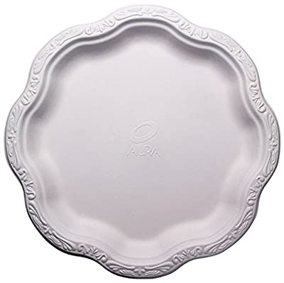 """[500 COUNT] 10"""" inch Disposable Floral Large Premium White Plates Acanthus Collection Natural Sugarcane Bamboo Fibers Bagasse 100% Byproduct Eco Friendly Environmental Plastic Paper Plate Alternative"""