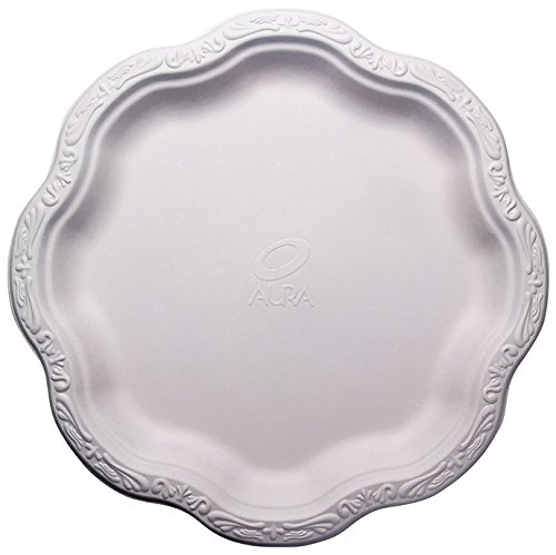 [50 COUNT] 10' inch Disposable Floral Large Premium White Plates Acanthus Collection Natural Sugarcane Bamboo Fibers Bagasse 100% By-Products Eco Friendly Environmental Plastic Paper Plate Alternative