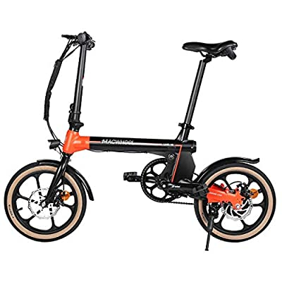 "Macwheel Electric commuter Bike, Small Electric Bike 16"" Wheels, 36V 7.5Ah Lithium Ion Battery, Folding Ebike, City Commuter Ebike with 250W Hub Motor, Dual Disc Braking, 3 Riding Modes"