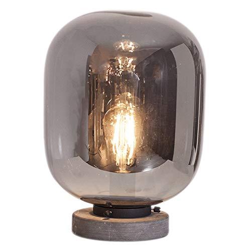 Tischleuchte Rauchglas | Wohnraumleuchte skandinavisch | Wohnraumbeleuchtung Fuß Marmoroptik | Innentischleuchte 34cm hoch | Glasleuchte modern