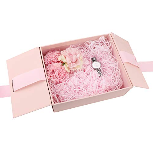 Geschenkbox mit Schleife,Geschenkverpackung Box Präsentation Geschenkbox mit Papierschnitzel Papier Geschenk-Boxen mit Schleife Geschenkboxen mit Geschenktüte Schmuckgeschenkboxen für Hochzeit (Pink)