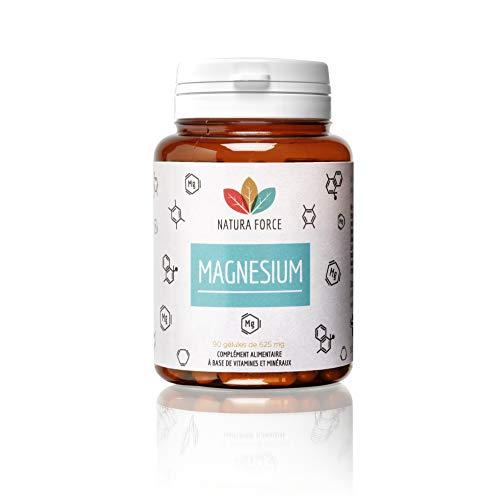 NATURA FORCE - Magnésium - Complément Alimentaire à Haute Biodisponibilité - Bisglycinate de Magnésium + Citrate de Magnésium + Vitamine B6 - Fatigue, Nervosité - 90 Gélules Végétales de 625 mg
