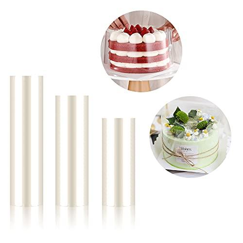 Vegena Pellicola per Torta,3 PCS Torte Collare,Rotolo di Acetato Trasparent,Strisce Trasparenti in Acetat,Bordo per Dolci Decorazione di Mousse Torte Cioccolato(6 cm x 10 m, 8 cm x 10 m, 10 cm x 10 m)