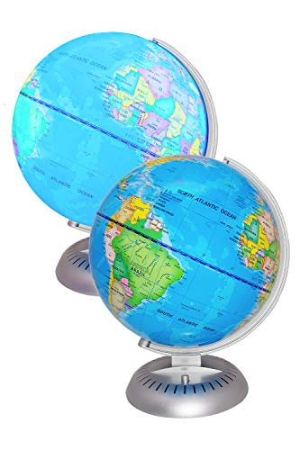 """Illuminated World Globe Lights by KinderBerries - 8"""" Globe of The World with Stand Night Lights for Kids - Built-in LED Light Earth Globe with Easy to Read Labels for Continents, Countries, Capitals"""