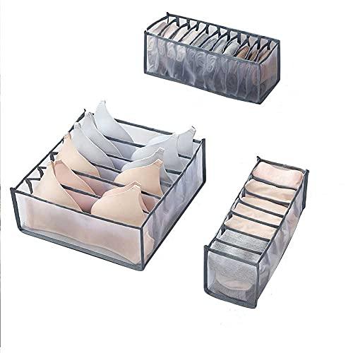 3 Pack Drawer Organizers, Foldable Closet Cabinet Storage Bins, Underwear Sock Organizer, Bra Storage Organizer For Drawer, With 6/7/11 Compartments (grau)