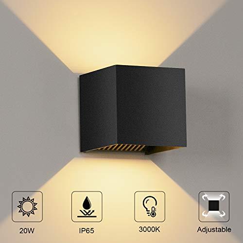 LEDMO 20W Wandleuchte Innen/Aussen Wandlampe 3000K IP65 Wandbeleuchtung Anthrazit für Wohnzimmer, Schlafzimmer, Flur, Balkon, Innenhof