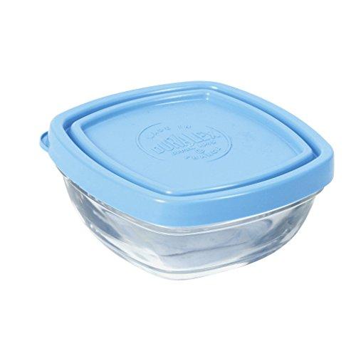Duralex 9019AM12LYS Schälchen quadratisch mit Deckel Glas transparent/blau 9,2cm